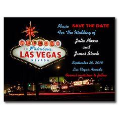 Unique Las Vegas Wedding Save The Date Post Cards