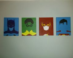 Super Hero Minimalist - Set of Four 8x10 Canvas - Hand Painted