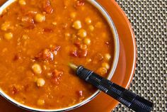 Crockpot Recipe for Red Lentil, Chickpea, and Tomato Soup with Smoked Paprika