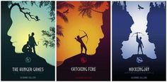 Fan posters for The Hunger Games trilogy.