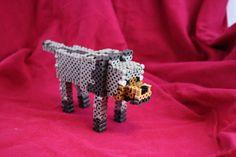 Minecraft Wolf Inspired Figure Made of Perler Hama Minecraft, Minecraft Wolf, Minecraft Crafts, Perler Bead Designs, 3d Perler Bead, Perler Bead Templates, Hama Beads Patterns, Beading Patterns, 3d Figures