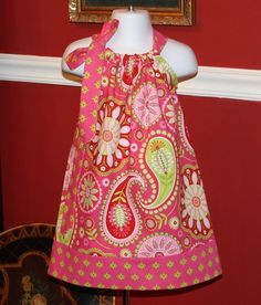 Pillowcase dress for Easter, girls baby toddler Michael Miller Gypsy Bandana in Pink  3 mos thru  4T on Etsy, $19.99