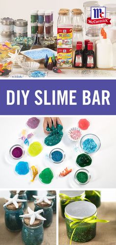 Looking for a party craft idea? this diy slime bar is great for birthday parties and summer get-togethers. simply use assorted food color & egg dye to Crafts For Teens, Diy For Kids, Fun Crafts, Galaxy Slime, Slime Craft, Diy Slime, All You Need Is, For Elise, Slime For Kids