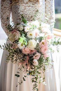 Romantic Light Pink Eucalyptus Cascading Bouquet