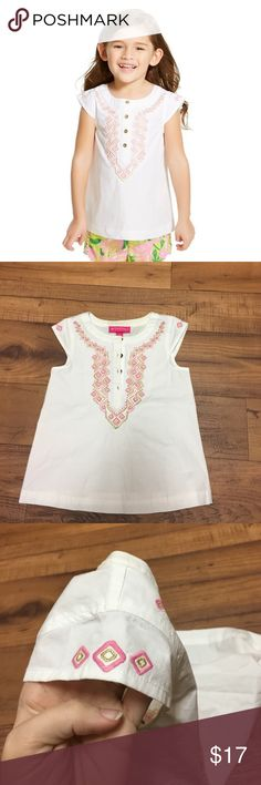 White Lilly for Target Toddler Top White capped sleeved top. Pink and gold embroidery at the top and on the sleeves. All buttons in tact. Lilly Pulitzer for Target Shirts & Tops
