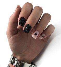 Black Nail Designs, Winter Nail Designs, Cool Nail Designs, Trendy Nail Art, Stylish Nails, Cool Nail Art, Winter Nail Art, Winter Nails, Fall Nails