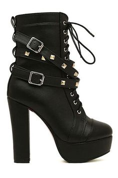 Boots I LOVE! ROMWE | Rivets Shoelace Black High Heels, The Latest Street Fashion #Sexy #Black #High #Heels #Straps #Rivets #Boots #Fall #Shoes