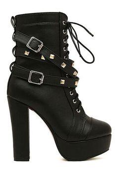 ROMWE | Rivets Shoelace Black High Heels