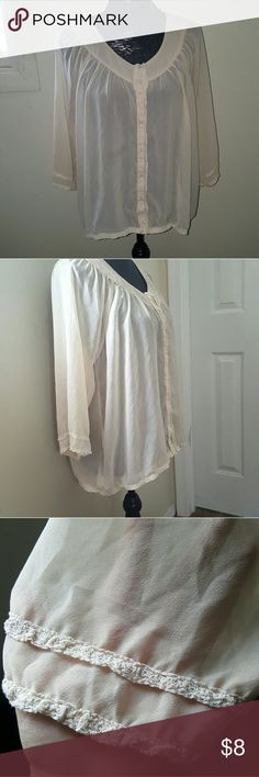 Tan/Skin Color Button Down Tan/Skin color blouse.  In good condition! Forever 21 Tops Button Down Shirts