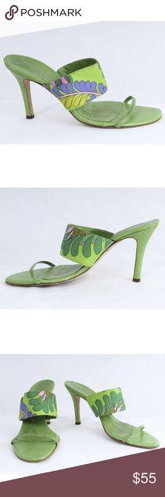 ... Leather & Leaf Print Sandals Kate Spade Sz 7 1/2B Green Leather & Leaf  Print Textile Heeled Sandals 819 S11E Size: 7 1/2B Heel Height: 3 3/8