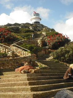 Steps up to the historic lighthouse at Cape Point. Photo: Ingrid Sinclair about 1 hour from Franschhoek and La Clé des Montagnes Cape Town Tourism, Cape Town South Africa, Places Of Interest, Pretoria, Africa Travel, Stairway, Places To Go, Beautiful Places, Scenery