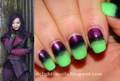 Dove Cameron as her character Mal from Disney's Descendants is paired next to an ombre nail art design with purple, black and green colors.