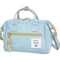 Authentic Anello Japan Imported Canvas Unisex Size M Light Blue Sling Handbag Anello Bag, Japan Bag, Prada Backpack, French Girl Style, Boston Bag, Affordable Clothes, Clutch Bag, Gym Bag, Light Blue