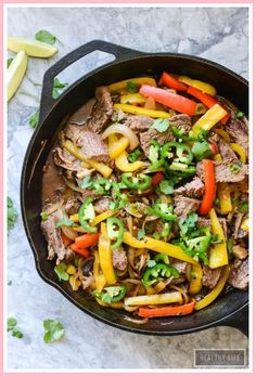 Paleo Skillet Beef Fajitas cooked in one pan in under 30 minutes gluten free rec. - whole 30 recipes Paleo Skillet Beef Fajitas cooked in one pan in under 30 minutes gluten free rec. - whole 30 recipes Gluten Free Recipes For Lunch, Whole30 Dinner Recipes, Paleo Dinner, Whole 30 Recipes, Lunch Recipes, Paleo Recipes, Cooking Recipes, Paleo Meals, Seafood Recipes