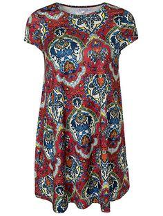 Folk Print Dress - Glamorous - Röd Mönstrad - Klänningar - Kläder - Kvinna - Nelly.com