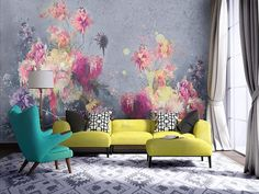 Floral mural bedroom: floral wall mural: perfectly addition to any living room, pink watercolor floral wallpaper bolt flower hd for mobile, pink thistle flowers wall mural floral photo wallpaper Decoration Inspiration, Interior Inspiration, Decor Ideas, Interior Desing, Interior Decorating, Floral Wall, Beautiful Wall, Of Wallpaper, Home And Deco