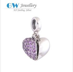2pcs/lot 925 sterling silver bracelets for womenheart charm 925 sterling silver jewelry fits bracelets GW fine jewelry S050