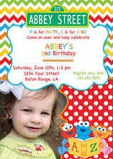 Chevron Sesame Street Birthday Invitation 5x7 Farm Party