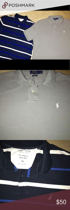 Two polo shirts . Nautica and Ralph Lauren Both extra large. Nautica blue and white striped polo . Ralph Lauren solid gray polo . Both in good condition. Any questions just ask. Nautica Shirts Polos