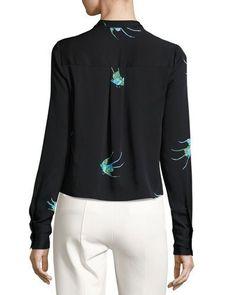 TRQA4 Diane von Furstenberg Cropped Bird-Print Silk Jersey V-Neck Shirt, Black