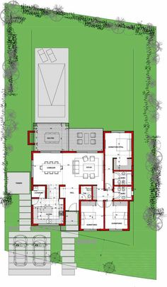 Sims House Plans, House Plans One Story, Dream House Plans, House Floor Plans, Building Design Plan, Building Plans, Architecture Plan, Residential Architecture, Villa Plan