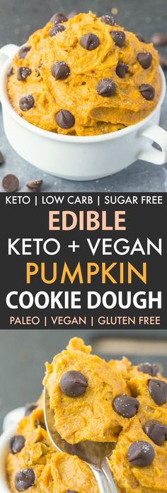 The easiest fall snack or topping full of chopped pecans dark chocolate chips and all[]Keto Vegan Pumpkin Cookie Dough! The easiest fall snack or topping full of chopped pecans dark chocolate chips and all[] Keto Cookies, Vegan Pumpkin Cookies, Pumpkin Chocolate Chips, Paleo Pumpkin Recipes, Pumkin Puree Recipes, Coconut Flour Recipes Low Carb, Dairy Free Keto Recipes, Coconut Flour Cookies, Vegetarian Recipes