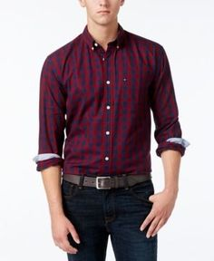 Tommy Hilfiger Men's Big & Tall Archer Check Shirt - Red 2XLT