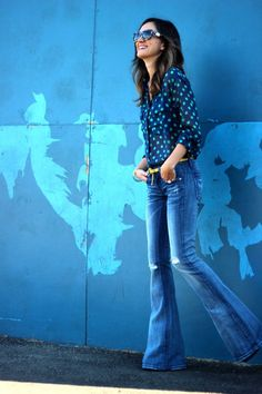 flare jeans and blouse