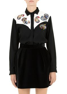 MSGM :: Shop Online - MSGM - Shirts - Crepe cady shirt cashmere embroidery