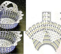 háčkovaný košíček #CrochetEaster Crochet Vase, Diy Crochet Basket, Thread Crochet, Crochet Doilies, Crochet Flowers, Filet Crochet, Crochet Shell Stitch, Crochet Diagram, Crochet Chart