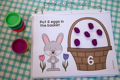 Easter Play Dough Counting Mats. (I like how the mats are fixed together with rings.)