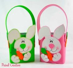 Recycle milk carton boxes to make this lovely bunny baskets - Tutorial on website. X