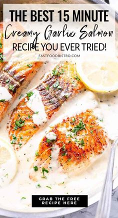 Looking for a super fast salmon dish? Try this creamy garlic salmon recipe. Make it in your skillet and add some lemon to make fresh and tasty. Delicious Salmon Recipes, Baked Salmon Recipes, Fish Recipes, Seafood Recipes, Salmon Pasta, Salmon Dishes, Salmon Food, Great Dinner Recipes, Healthy Dinner Recipes