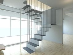 Floating folded steel staircase