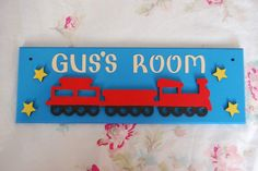 Train Personalised Name Sign Name Plaque. Any Name/Names Any colours Boys Name sign Girls sign railway Nursery Children's sign Trains sign by FairylandDecor on Etsy Door Plaques, Name Plaques, Cardboard Letters, Girl Sign, Nursery Signs, Boy Names, Craft Business, Name Signs, Home Decor Items