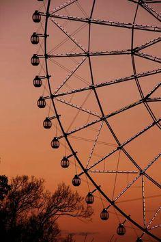 sunset, ferris wheel, and sky image