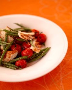 barbecued chicken with warm green bean salad