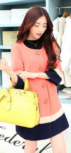 Cashmere coat, wool coat, pink coat, pink cashmere coat, Autumn, Korean Coat, asian coat YRB0329 £29.50