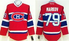 """$34.88 at """"MaryJersey"""" (maryjerseyelway@gmail.com) #79 Andrei Markov, #33 Patrick Roy - Canadiens Red CCM Stitched NHL Jersey"""