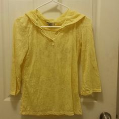LEI Juniors 3/4 sleeves shirt This is a yellow, kind of lace material with butterfly designs. It has buttons in the front and a hood. There are buttons on each sleeve to roll up more. This is a Junior size large. LEI Tops Tees - Long Sleeve