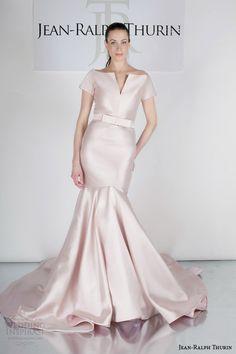 We're wrapping up the week with some very unique gowns from Jean-Ralph Thurin's Spring 2015 bridal collection. Jean-Ralph specializes in custom, one-of-a-kind Wedding Gowns With Sleeves, Colored Wedding Dresses, Bridal Dresses, Bridal Looks, Bridal Style, Ceremony Dresses, Wedding Ceremony, Blush Gown, Elegant Bride