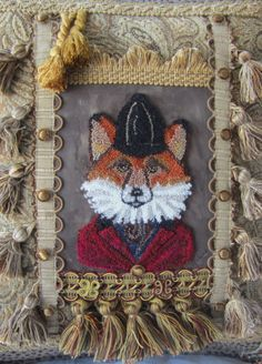 Your place to buy and sell all things handmade Designer Pillow,HUNT FOX American Handmade Pillow By Arlene, One of a Kind Embroidery Punch Needle Handmade Pillows, Decorative Pillows, Bird Wings, True Art, Designer Pillow, Punch Needle, Rug Making, Burlap Wreath, How To Draw Hands