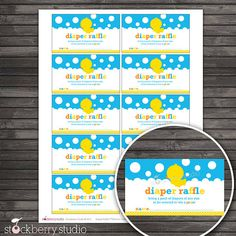 Rubber Ducky Baby Shower Diaper Raffle Tickets - Instant Download via Etsy