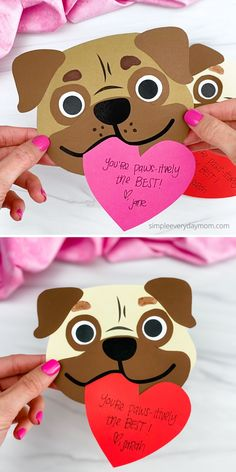 This puppy valentine crafts for the kids a fun activity to do at home or in the classroom. Download the free printable template and make it with preschoolers, kindergarten, and elementary children. Diy Valentines Cards, Valentine Crafts For Kids, Valentines Day Activities, Valentine's Cards For Kids, Art For Kids, Kids Crafts, Puppy Crafts, Puppy Valentines, Cricut Cards