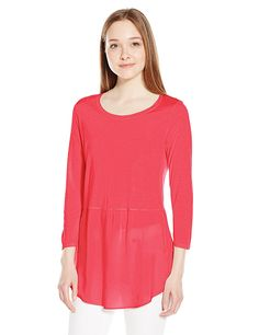 Two by Vince Camuto Women's 3/4 Slv Mixed Media Crewneck Tunic * Insider's special review you can't miss. Read more  : Fashion