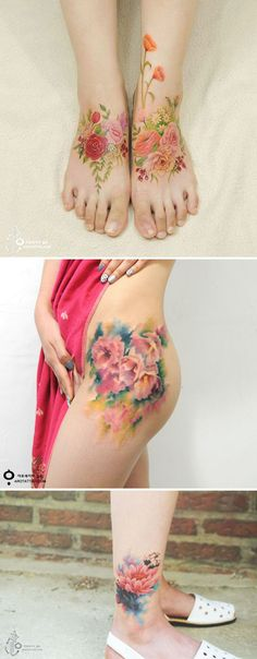 30 Floral Tattoo Artists Who Will Make You Want To Get Inked Spring is upon us, and summer isn't far behind it, meaning floral printed everything is officially necessary - including tattoos. Stomach Tattoos, Foot Tattoos, New Tattoos, Body Art Tattoos, Girl Tattoos, Tattoos For Guys, Tattoos For Women, Star Tattoos, Tattoo Girls