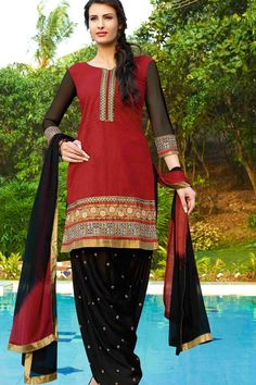 Red & Black Cotton Cambric Suit With Chiffon Dupatta