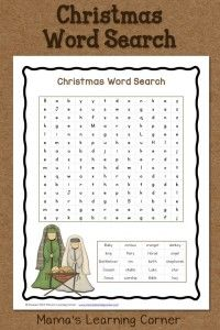 Great Christmas activity which includes words related to the birth of Christ! Click here to get this FREE Christmas Word Search Printable Mama's Learning Corner.