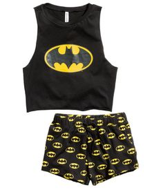 Pijama de dos piezas | Negro/Batman | Mujer | H&M PE