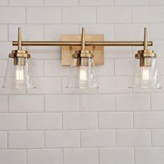 bathroom lighting Tapered Spike Vanity Light - 3 Light - Shades of Light Bathroom Layout, Bathroom Interior, White Bathroom, Bathroom Ideas, Bathroom Organization, Light Bathroom, Minimal Bathroom, Bathroom Storage, Bath Ideas